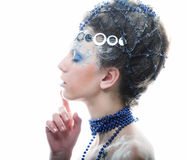 Portrait of winter queen with artistic make-up. Isolated on whit Royalty Free Stock Photography