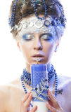 Portrait of winter queen with artistic make-up. Isolated on whit Royalty Free Stock Images