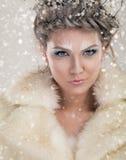 Portrait of winter queen Stock Photos