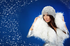 Portrait of a winter woman, Royalty Free Stock Photos