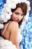 Portrait of a Winter woman Royalty Free Stock Images
