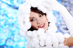 Portrait of a Winter woman Stock Image