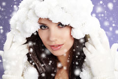 Portrait of a Winter woman Stock Images