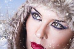 Portrait of winter woman, detail Stock Images