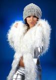 Portrait of a winter woman, fantasy fashion Stock Photos