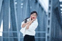 portrait winter woman young Στοκ Εικόνες
