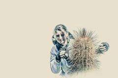 Portrait wit a cactus Stock Images
