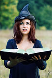 Portrait of a witch with a book Stock Photography