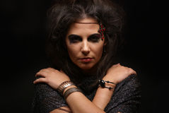 Portrait of a witch on a dark background Royalty Free Stock Photos
