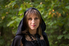 Portrait of Witch. In the Forest Royalty Free Stock Photo