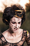 Portrait of witch woman with black eyes royalty free stock images