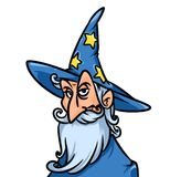 Portrait wizard astrologer cartoon illustration Stock Images