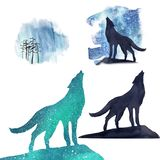 Portrait of a wolf and his silhouettes against the background of the northern lights royalty free illustration