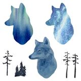 Portrait of a wolf and his silhouettes against the background of the northern lights vector illustration
