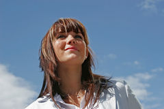 Portrait of woman. A portrait of a girl smiling downtown Royalty Free Stock Photo