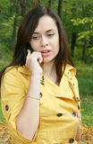 Portrait of a woman. Talks by phone Royalty Free Stock Image