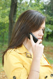 Portrait of a woman. Talks by phone Royalty Free Stock Images