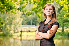 Portrait of woman against lake Royalty Free Stock Photo