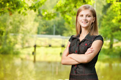 Portrait of woman against lake Royalty Free Stock Image