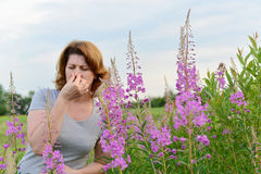 Portrait of  woman with allergic rhinitis near Royalty Free Stock Photography