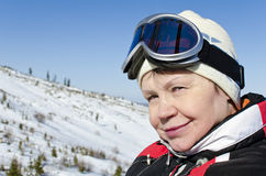 Portrait of a woman alpine skier Royalty Free Stock Image