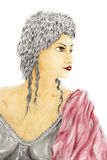 Portrait of woman in ancient style clothing. Watercolor and gouache on rough paper Stock Image