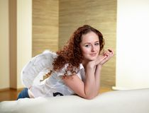 Portrait of  woman with angel wings Stock Image