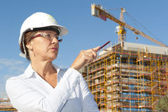 Portrait woman architect construction site Royalty Free Stock Photography