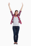 Portrait of a woman with the arms up Stock Photo
