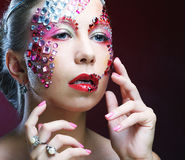 portrait of woman with artistic make-up. Luxury image. Stock Image