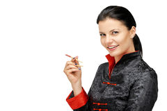 Portrait of woman with asian chef uniform hold chopsticks. Isolated on white Stock Photography