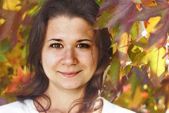 Portrait of Woman on Autumn Background Royalty Free Stock Photo