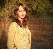 Portrait of Woman on Autumn Nature Background Stock Photography