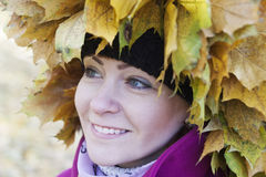 Portrait of a woman in autumn Stock Images