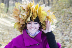 Portrait of the woman in autumn Stock Photos