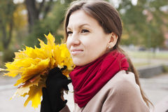 Portrait of the woman in autumn Stock Photography