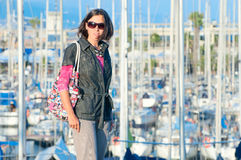 Portrait of woman in the background of yachts Royalty Free Stock Images