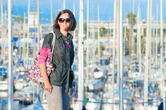 Portrait of woman in the background of yachts Royalty Free Stock Photo