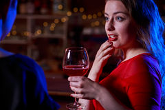 Portrait of woman at bar Royalty Free Stock Image