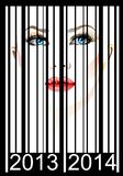 Portrait of a woman in the bar code. (Vector)  Royalty Free Stock Photography