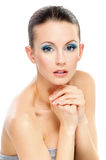 Portrait woman with bared shoulders Stock Photography