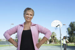 Portrait Of Woman At Basketball Court Royalty Free Stock Photos