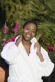 Portrait Of A Woman In Bathrobe Stock Photos