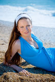 Portrait of woman at beach Royalty Free Stock Images