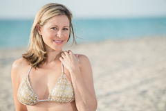 Portrait of woman in the beach with room for copy. Royalty Free Stock Photo