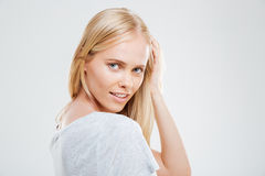 Portrait of a woman with beautiful face looking at camera Royalty Free Stock Images