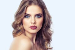 Portrait of a woman with beautiful make-up and hairstyle. stock image