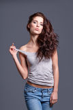 Portrait of the woman with beauty long brown hair Royalty Free Stock Image