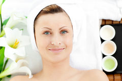 Portrait of a woman during a beauty treatment Royalty Free Stock Photos