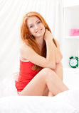 Portrait of woman in bed Royalty Free Stock Photos